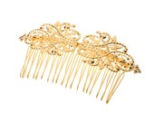 bride hair comb - 24k gold plated Bridal hair comb - Victorian shabby chic vintage style - Gold hair comb
