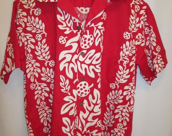vintage, circa 60s LAUHALA Hawaiian aloha shirt electric red white fern print appears new mens sz L