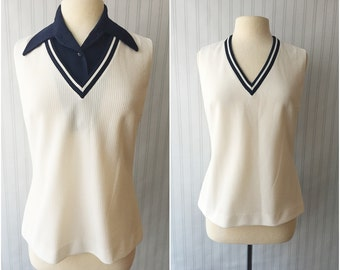 Vintage 60s white top/ sleeveless V neck nautical shirt/ navy blue trim/ removable collar/ yacht club preppy top/ Butte Knit