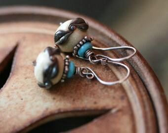 Sterling Silver Rustic Earthy Lampwork earrings - lampwork earrings . boho earrings . rustic turquoise earrings . glass . artisan earrings