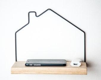 Mini shelf House minimalistic scandinavian style functional wall decor wire and natural wood FREE SHIPPING perfect housewarming present