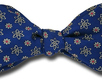 Men's SILK BOW TIE Physics Physicist Atoms and Cogs Bohr Atomic Model BowTie for Scientist