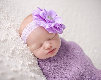Headband, Baby Headband, Flower Headband, Toddler Headband, Lavender Headband, Chic Flower Headband, Birthday Headband, Lavender, Lace Headb