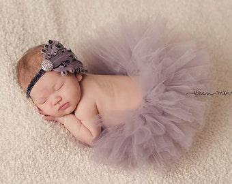 Newborn Tutu Set, Baby Tutu,Tutu Set, Grey Tutu, newborn photo prop, silver Tutu, Baby Tutu Set, Newborn Tutu with matching headband, tutu