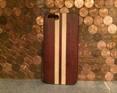 WOOD  IPHONE 6 case real exotic polished  rosewood and maple back, sharp looking black  edge