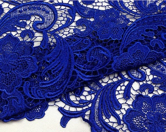 royal blue lace fabric, crochet lace fabric, blue floral lace, venise lace fabric