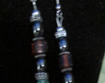Pierced dangle earrings turquoise glass,topaz glass and hematite