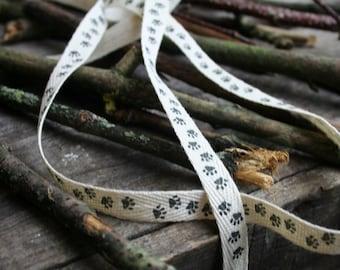 Paw Print Cotton Woven Printed Ribbon, Dog, Cat, Paw Print, Grosgrain Ribbon, By the Metre