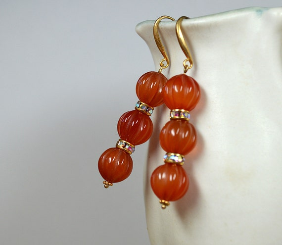 Dressy carved carnelian earrings Big bold gem long drop earrings Rust semi precious gem stone earrings Dark orange carnelian jewelry
