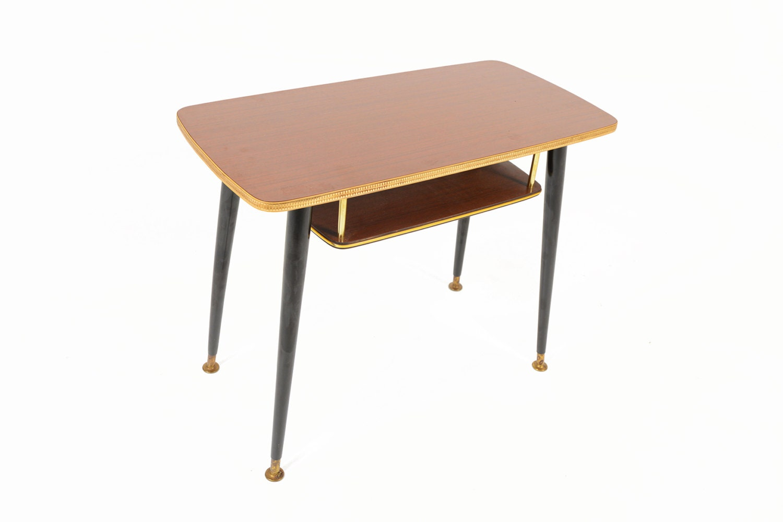 German mid century modern small laminate two tiered side table for Small modern side table