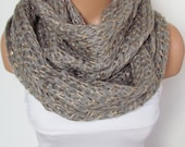 Gray Glittery Knit Scarf, Infinity Scarf, Chunky Cowl Scarf, Winter Accessories,Circle scarf, Cowl Scarf,Tube Scarves, Loop Scarf