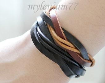 180 Men's leather bracelets Set of 2: 1 black and 1 brown Leather bands bracelet Leather cords bracelet Woven bracelet For men and women