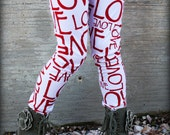 Girl Valentines Day Red Love Legging Tights