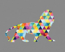 Lion Print Poster Africa Animal Design Geometric Bright Colorful Colourful Grey Gray Wall Art Home Decor Gift Present Birthday African