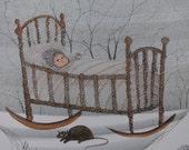 P. Buckley Moss Rare Art Print LOVING CRADLE Sleeping Baby Sheep Black Cat Snow Winter Woods Scene Rustic Primitive Nursery Decor