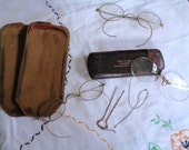 Antique Opera Glasses with Hairpin Wire Rimmed Glasses Antique Eyewear Old Metal Glasses Eye Doctor Advertising Costume