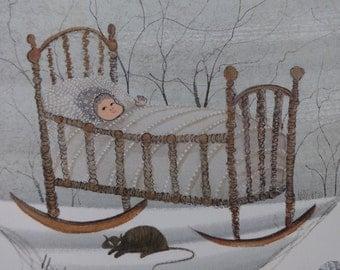 P. Buckley Moss, Print of Baby, Artist Signed, Nursery Wall Decor, Loving Cradle, Sleeping Baby, Snow Scene