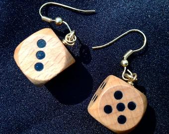 Dice Earrings, Wooden Dice
