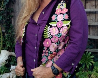 Boho Vest with Embroidery, Maroon Velvet, Pink Flowers, Holiday Outfit