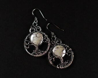 Freshwater Pearl, Antique Silver, Full Moon Tree of Life Earrings