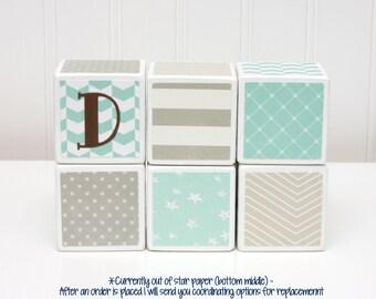 Personalized Baby Blocks -  Nursery Decor - SET OF 6 - Boy - Neutrals Blue Greens Stars