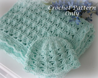 Shells and Chains Baby Blanket and Hat, Crochet Patterns, Easy to Make, Instant PDF Download