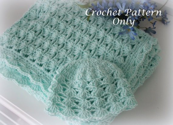 Shells and Chains Baby Blanket and Hat Crochet Patterns Easy