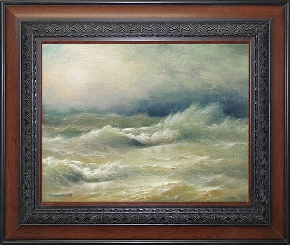 "Stormy Ocean,  11""x 14"" original FRAMED oil on canvas painting"