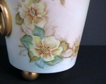Handsome Hand Painted Porcelain / Vintage / Urn or Vase / Wild Roses / Gold Details