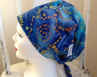 Scrub Hat Batik Pixie Style Blue Multicolor