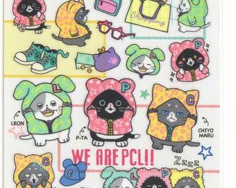 Kawaii Japan Sticker Sheet Assort: Peach Lemon - PCL Fat Kitten Cat Character Hipsters Stickers for Decorations Planner Schedule Book R