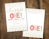 Oh Baby! Pink and Gold Birthday invitation