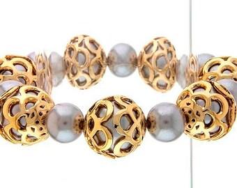 Framed Pearl Ball Bracelet