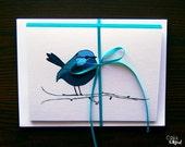 Blank Card Set - Blue Wren, Bird Illustration, Spring Card, Greeting Card Set, Springtime