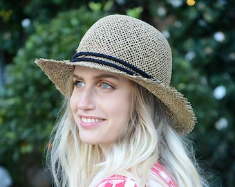 Straw Hat with natural cotton rope , Womens Hats for summer , Straw Hat ,  Sun hat, Straw hat for summer , Beach hat