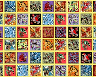 Imagine This Label Abstract Panels Quilting Fabric 66 Panels Multi Coloured 0591