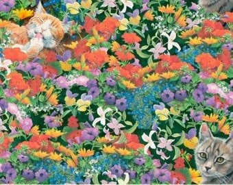Fat Quarter Cat Nap Floral Feline Cotton Quilting Fabric Springs 35574