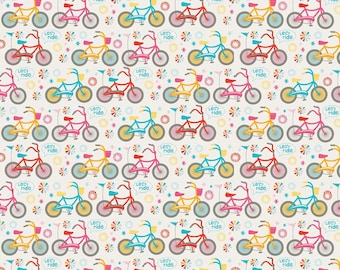 Fat Quarter Girl Crazy Bicycles Cycling Cotton Quilting Fabric Riley Blake C3822