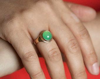 Chrysoprase ring, size 5 1/2 chrysoprase and 14k gold ring, # 416,