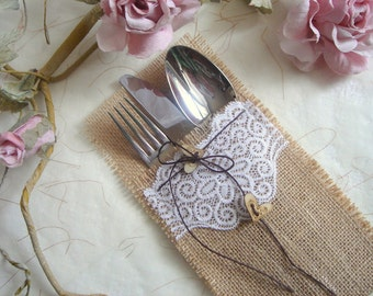 65 Burlap Flatware holders for weddings, Wedding Table Setting,Rustic Flatware Pockets