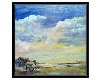 Original art, acrylic, castteam, CAPS, sky painting, textured sky,  canvas,sunset, beach house, contemporary, seashore,beach