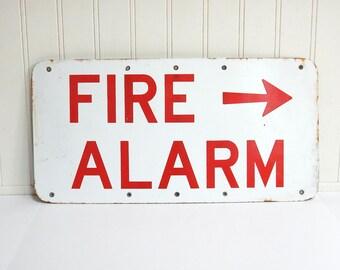 VINTAGE FIRE ALARM Sign - Enamel - Red White - Arrow - Double Sided - Heavy Duty Industrial