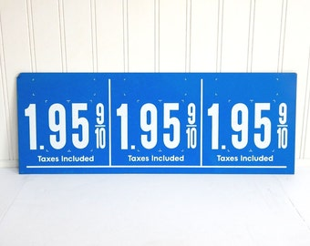 VINTAGE GAS STATION Sign - Price per Gallon - Blue White - Metal - Double Sided - Commercial