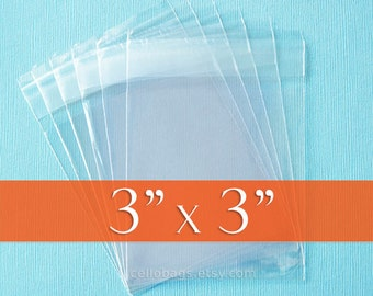 500 3 x 3 Inch Resealable Cello Bags, Clear Cellophane Plastic Packaging, Acid Free