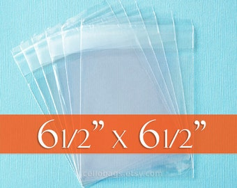 "100 6 1/2"" x 6 1/2"" SQUARE Clear Resealable Cello Bags, Plastic Packaging, Acid Free (6.5 x 6.5 Inch)"