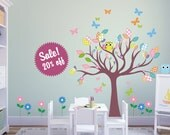 Sale. Wall decal Tree decal with owls and butterflies. Nursery Wall Decal. Wall Sticker. Removable
