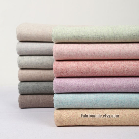 Wool/ Wool Flannel Fabric/ Wool fabric half yard  Winter fabric- Bundle Wool Fabric 13 color available grey, pink, purple, blue, brown
