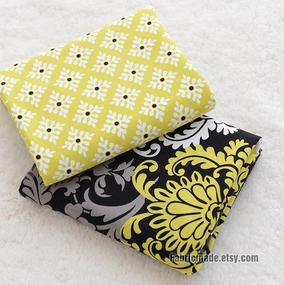 Flower Cotton Fabric/ Yellow Grey Black Flower Cotton For Quilting Bedding - 1/2 yard