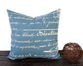 Denim blue throw pillow cover 16 x 16 inches One blue natural khaki script cushion colors blue pillow covers beige pillows