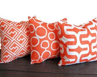 "Orange throw pillow covers set of three 18"" x 18"" cushion covers orange pillows orange cushion covers"